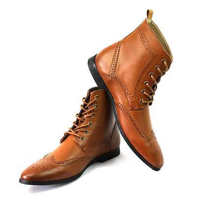 Men's Cognac/Brown Wing Tip Brogue Toe Dress Boots Lace up Oxfords Shoes By AZAR