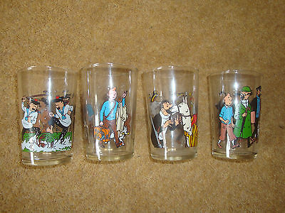 Lovely Tintin Glasses - 1986 Lombard set of 4 - rare.