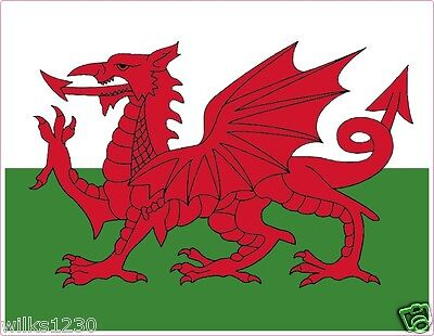 2x welsh dragon flags, Baner Cymru, wales decals sticker self adhesive stickers
