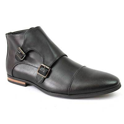 Men's Black 2 Tone Cap Toe Monk Strap Dress Boots Herringbone Oxfords By Azar