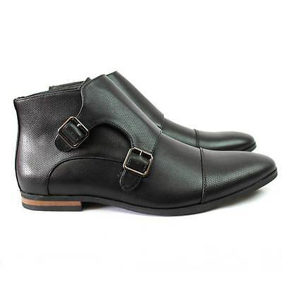 New Men's Black  Cap Toe Monk Strap Dotted Dress Boots Modern Oxfords By Azar