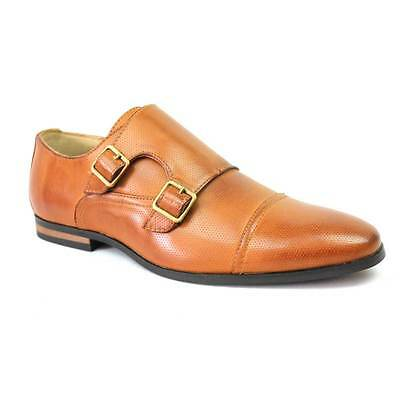 New Men's Cognac Dotted Cap Toe Monk Strap Dress Shoes Buckle Modern By Azar Man