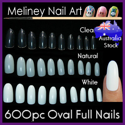 600Pc Oval Full Cover Round Nail Tips Fake False Gel Art Long Manicure meliney