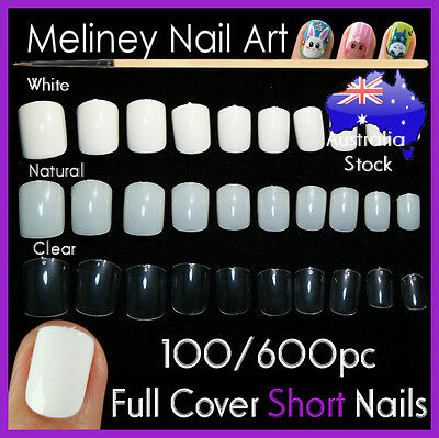 100/600Pc Short Nails Full Cover Gel Art Acrylic Fake Nail Manicure salon supply