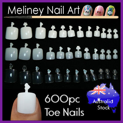 600Pc Toe Nails Full Cover Gel Art Acrylic Fake Nail Manicure salon supply
