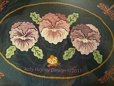 3 Pansies Rug Hooking Canvas On Linen 39x28 Inches Judy Higney Design