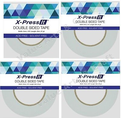 X-Press Double Sided Tape, Acid Free, Solvent Free - 4 Sizes Available