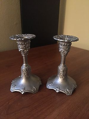 Antique Pair JENNINGS BROS J.B Silver Painted Brass Candlestick Holders