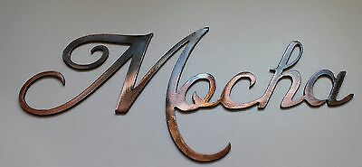 "COFFEE WORDS  ""Mocha"" METAL ART WALL DECORATION COPPER/BRONZE PLATED"