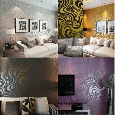 3D Abstract Curve Modern Luxury Flocking Striped Wallpaper Roll 0.7m*8.4m=5.88㎡