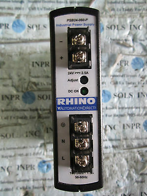 RHINO PSB24-060-P Automation Direct 2.5A 24VDC Power Supply 100-240VAC *Tested*