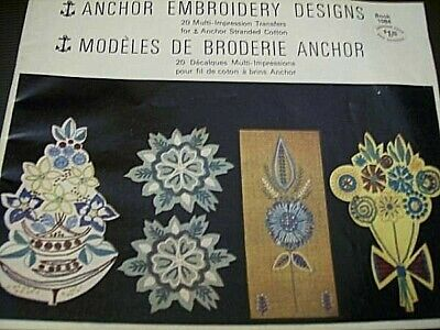 1974 Anchor Embroidery Designs Transfers Book #1084- Flowers, Birds, Abstracts