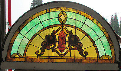 ~ ANTIQUE AMERICAN STAINED GLASS WINDOW 52.25 x 29.75 ~  ARCHITECTURAL SALVAGE ~