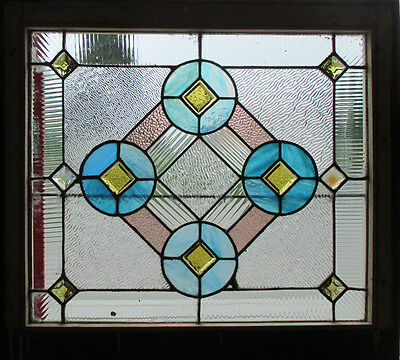 ~ ANTIQUE AMERICAN STAINED GLASS WINDOW ~ 30 x 30 ~ ARCHITECTURAL SALVAGE ~
