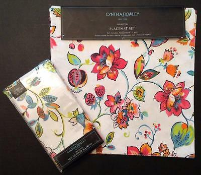 Cynthia Rowley Placemats Napkins Set of 4 NWT Floral Hot Pink Turquoise Green