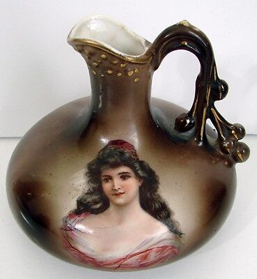 Austria Porcelain Small Ewer Pitcher Hand Painted Lady