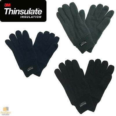 3M THINSULATE Knitted Fleece Gloves Winter Warmers Snow Ski Thermal Plain 2034