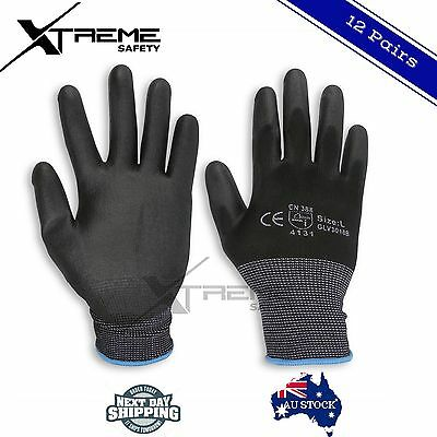 PU Coated Safety Gloves Work Gloves Hand Protection 12 Pairs Size (M, L, XL)