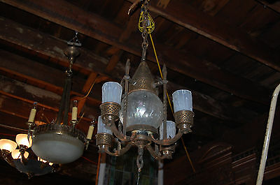 Antique Arts Craft Chandelier Light Fixture Hammered Copper  Frosted Shades