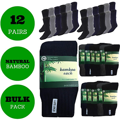12 Pairs BAMBOO SOCKS Men's Heavy Duty Premium Thick Work Socks Cushion BULK New