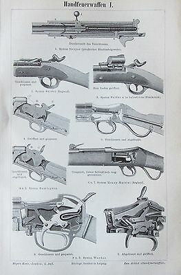 HANDFEUERWAFFEN I-III 1895 original 3 Drucke antik Lithografie antique prints