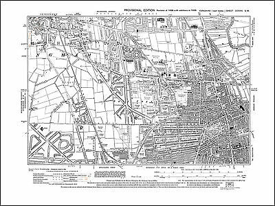 Hull NW, Cottingham SE, old map Yorkshire 1938: 226SW repro