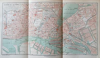 1895 HAMBURG ALTONA historischer Stadtplan Karte antique city map Lithographie