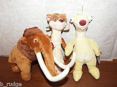 Bundle joblot 3 Ice Age soft plush toy figure Sid Manny and Buck ty beanie