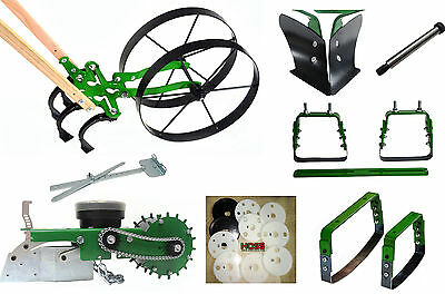 THE HOSS DEAL Push Plow Garden Wheel Hoe With Seeder/ Planter & Attachments
