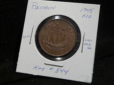 Uk (Great Britain):  1945   Half Penny George Vi   (Unc.)   (#141)  Km # 844