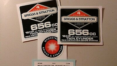 Briggs & Stratton 16-hp 656cc 1986-91 Shroud Labels Decals set of 4 for opposed
