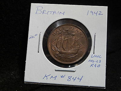 Uk (Great Britain):  1942   Half Penny   George Vi   (Unc.)   (#142)  Km # 844