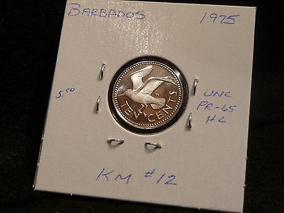 Barbados:   1975   10  Cents  Coin Gem  Proof Hc  (Unc.)    (#502)  Km # 12