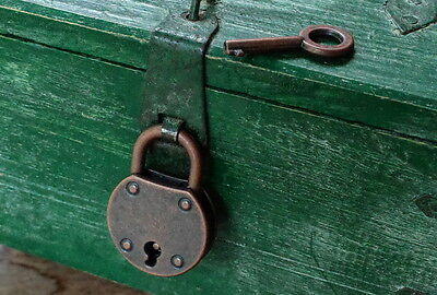 Old  Antique Vintage Style Small  Padlock With Keys--Antique Copper Color