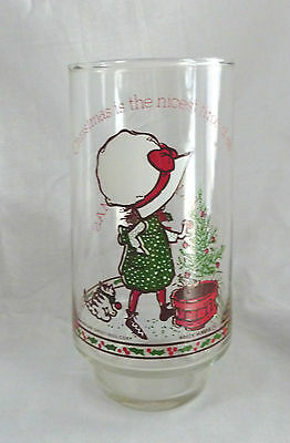 Vintage Holly Hobbie Glass Coca Cola Christmas Is The Nicest Time Of All 5.5""