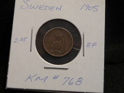 Sweden:   1905   One   Ore   Coin       (Ef.)  (#198)  Km # 768