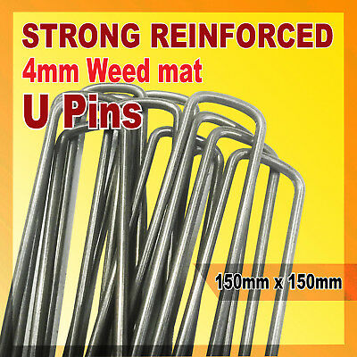 Steel Anchor U Pins Pegs for Weed Mat Tent Pegs Tarpaulin Pins 150mm x 150mm
