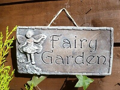 Rustic Fairy Garden Wall Hanging Sign Plaque Ornament Hand Made Gift