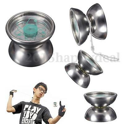 Professional Stainless Steel Bearing String Trick Toy Silver Tone YoYo Ball Kids