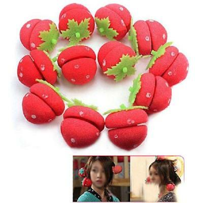 12Pcs Girl Strawberry Hair Rollers Soft Foam Sponge Balls Curlers Curly Hair FW