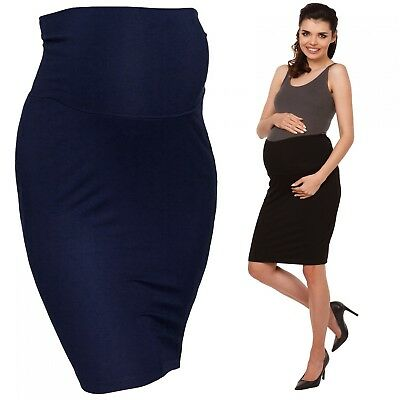 Zeta Ville - Women's Maternity midi length pencil skirt stretch waistband - 066c