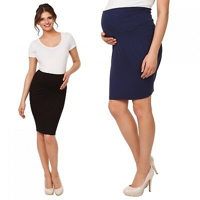 Happy Mama Women's Maternity Pencil Skirt Overbump Elastic Panel Pregnancy. 066p