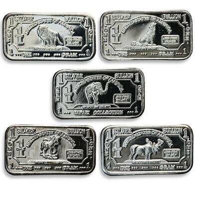 USA, set of bars 10, one gram of silver, animal, fauna