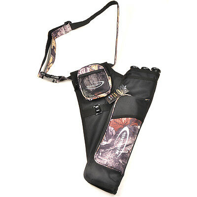 Camo Outdoor Archery Hunting Bow Arrow Holder Belt Quiver 3 Tubes with Belt
