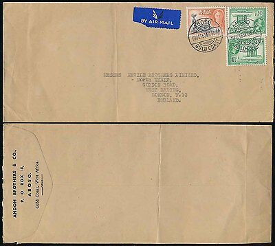 GOLD COAST ABOSO AIRMAIL ANDOH BROS ENVELOPE to GB...KG6 + QE2 1953