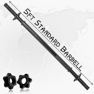"5ft Weight Lifting 1"" Standard Barbell Bar 2.5cm Disc Hole Plates Gym Excercise"