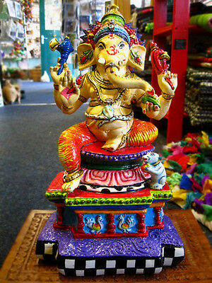 GANESH GANESHA HAND PAINTED STATUE Ornament HINDU GOD Indian DEITY DEVA 35cm