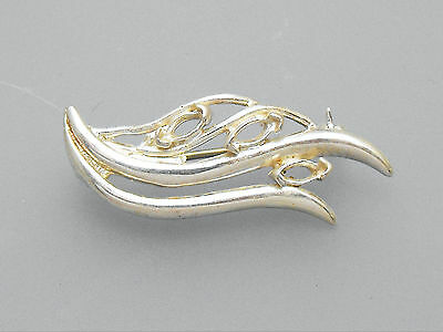 Brooch Blank 925 Solid Sterling Silver (925) Wave / Leaf Pattern Unset