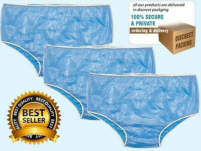 3X Adult Waterproof Plastic Incontinence Pants / Knickers ~ 4 Sizes *FREE POST*