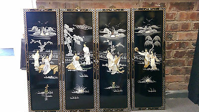 Vintage Chinese / Japanese Decorative Art Black Lacquered Wall hangings set of 4
